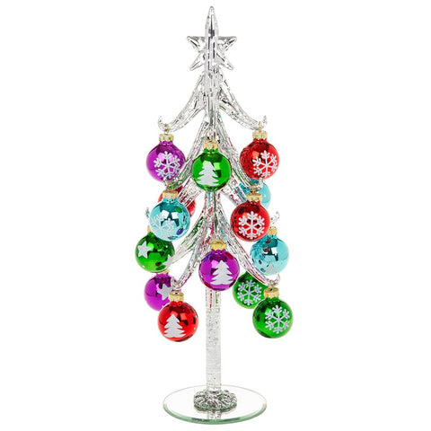 Decorated Glass Silver Christmas Tree With Baubles ( 31 cm x 11 cm )