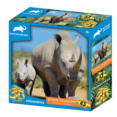 Rhinoceros 63pc Prime 3D Effect Animal Planet Jigsaw Puzzle