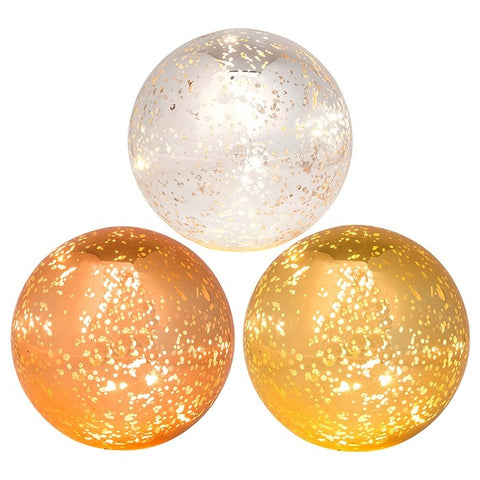 Glass Mercury LED Standing Ball Lights - Copper, Gold Or Silver