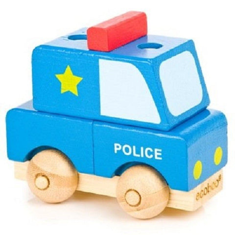 Ecoboo Bamboo Build A Vehicle - Police Car