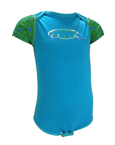 TWF Sunsafe Sea Dinosaur Blue Baby Vest