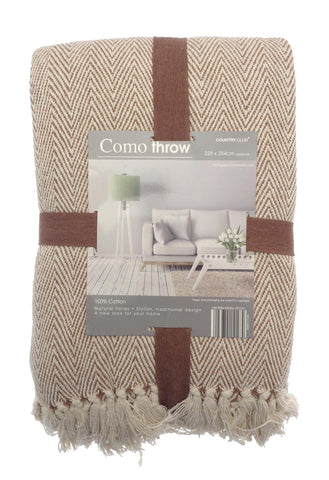 Como Throw 100% Cotton Traditional Como Herringbone Blanket 228 cm x 254 cm