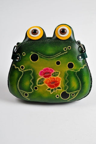 Handmade Leather Frog Shoulder Pouch