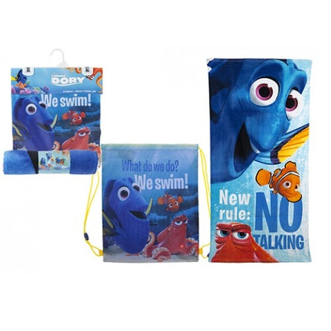 Official Disney Pixar Finding Dory Gym bag And Beach Towel Pool Swimming Set