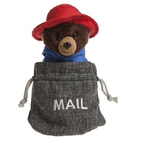 Official Paddington Soft Plush Bear In Grey Mail Sack