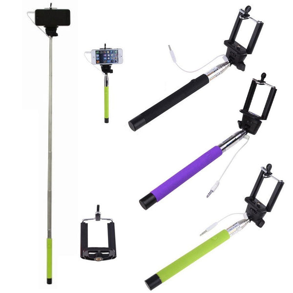 monopod corded selfie stick with push button bort shopping. Black Bedroom Furniture Sets. Home Design Ideas