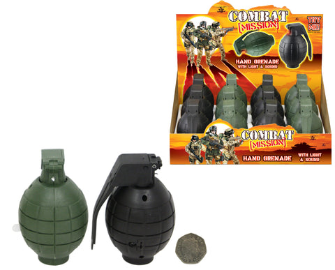 Box Of 12 Toy Army Hand Grenades with Sound and lights