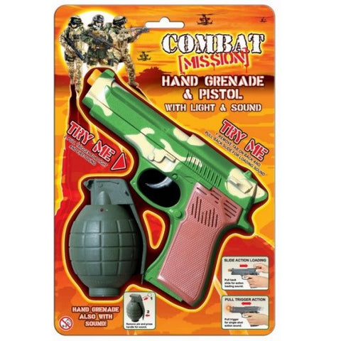 Combat Mission Lights & Sound Pistol and Grenade on Blister Pack