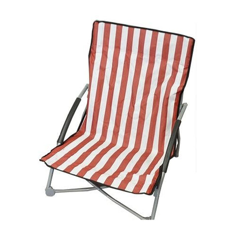 Foldable Striped Low Beach Chair