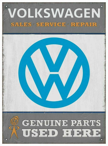 VW Genuine Parts Garage Metal Volkswagen Wall Sign 41 cm x 30 cm