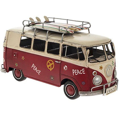 Vintage VW Collectable Metal Model Campervan Red