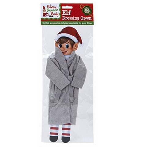 Elves Behaving Badly Christmas Elf Dressing Gown Grey