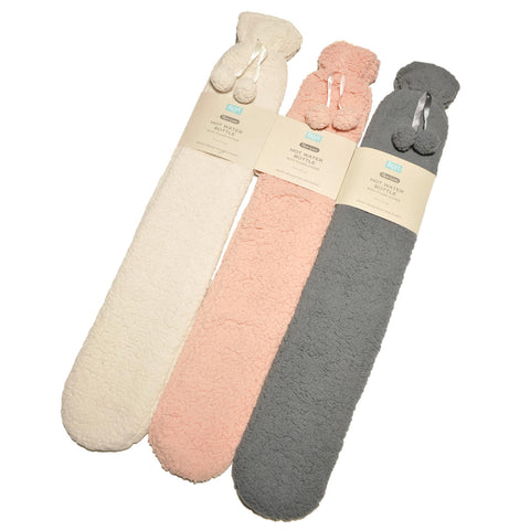 Extra Long Natural Rubber Hot Water Bottle with Washable Plush Sherpa Fleece Cover