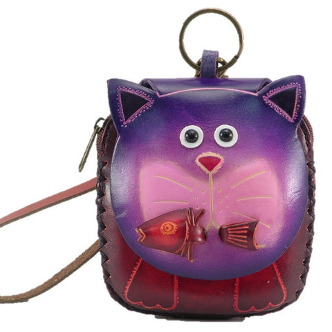 Handmade Leather Cat Wristlet