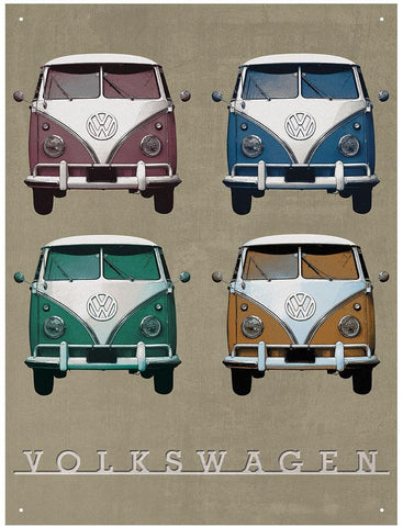VW Vintage Camper Quad Metal Wall Sign 41 cm x 30 cm