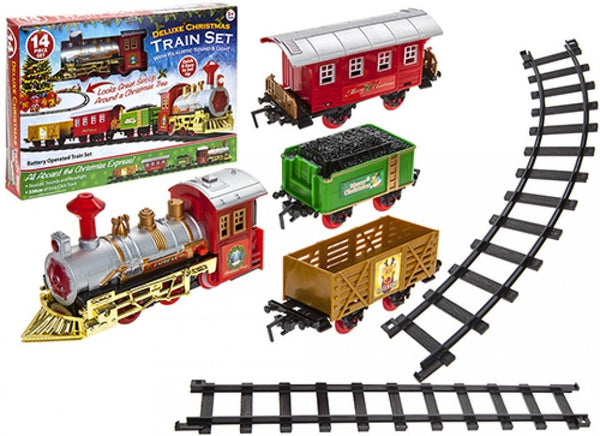 Deluxe 14pc Christmas Express Train Set Battery Operated With Light and  Sounds