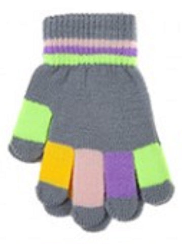 Children's Multi Stripe Stretchy Knitted Magic Gloves ONE SIZE
