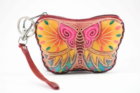 Handmade Leather Butterfly Wristlet