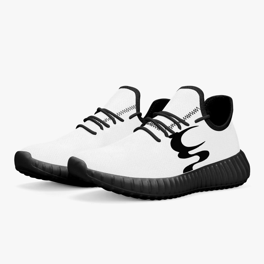 UN LOGO  Mesh Knit Sneakers - White/Black  Men & Women