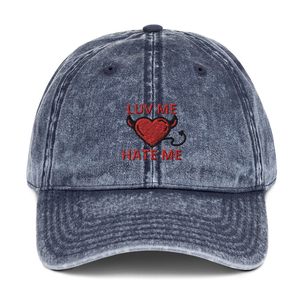 Embroidered Luv Me Hate Me Vintage Cotton Twill Cap in 4 different colors