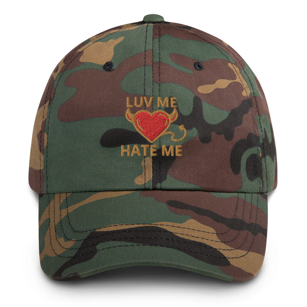 Embroidered Luv Me Hate Me Dad Hats in 9 different colors