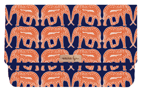 Navy and Orange Elephants (Water Resistant)- Everyday