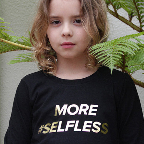 """More #Selfless"" Long Sleeve Cotton Shirt"