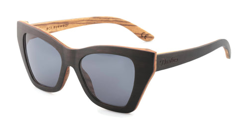 Isabella - Full Frame Women's Sunglasses - Hand Crafted Ebony, Red Pear & Zebrano Wooden Frames In Black & Natural Timber Tones