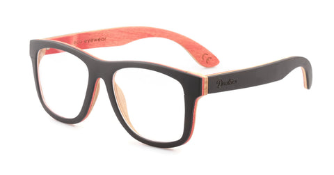 Macbeth - Men's Full Frame Optical Glasses - Hand Crafted Maple & Ebony Frame In Red/Black