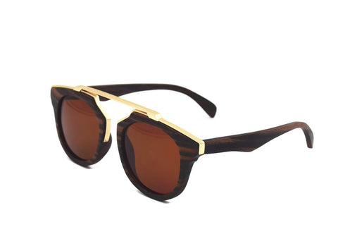 Othello - Full Frame Sunglasses - Hand Crafted Dark Dark Ebony Wood With Gold Trim