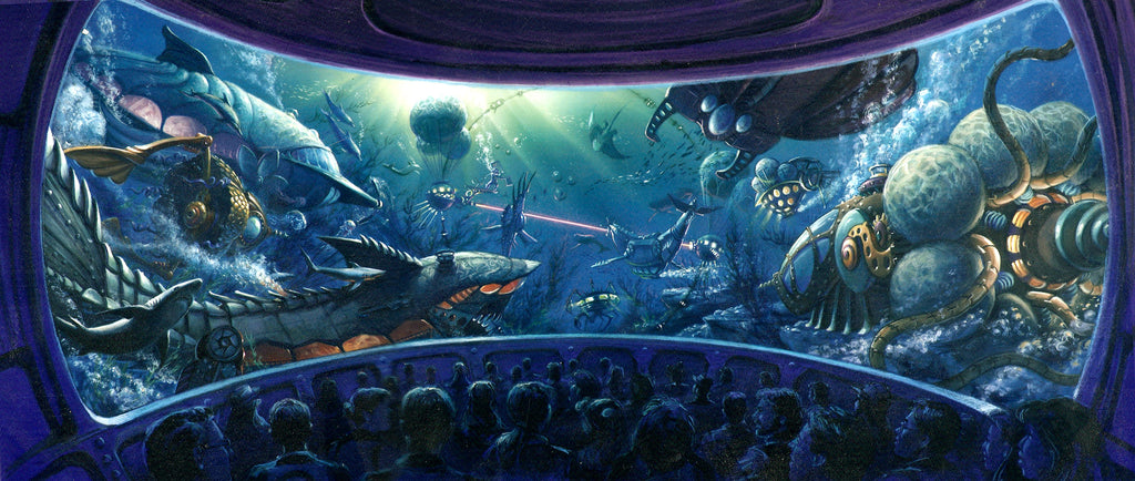 Ride Concept Art by Tom Thordarson for Disney's Under the Sea Grand Prix