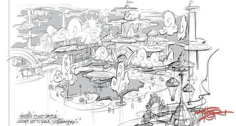 Eontime World concept drawing by fine artist and ride designer Tom Thordarson