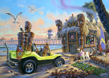 Tom Thordarson paints a dune buggy loaded with tiki faces parked outside a grass hut in Hawaii