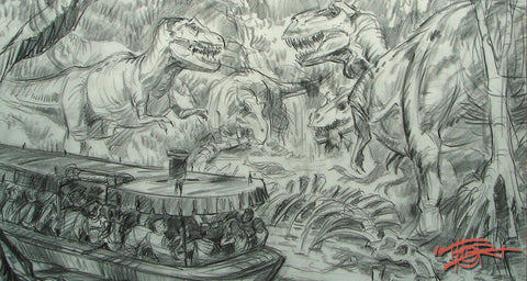 Dinosaur Jungle Adventure original sketch concept by fine artist Tom Thordarson