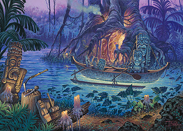 Tiki artist Tom Thordarson shows a tiki workshop surrounded by a mystical lagoon in the middle of a jungle