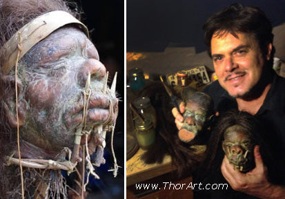 Fantasy artist Tom Thordarson carves intricate details in the shrunken heads for sale at Tiki Oasis 2015