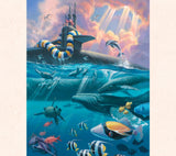 Military art by Tom Thordarson showing a submarine returning to Hawaii welcomed home by sea creatures