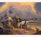 Nautical art by Tom Thordarson showing a pirate home built out of shipwreck parts