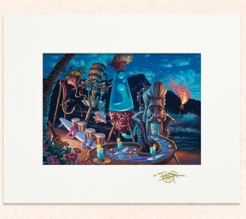 Matted print of Blue Hawaii Shimmylator with gold leaf Thor signature