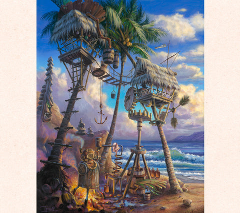 Brewing it my way by fantasy artist Tom Thordarson, painting of a tiki mai tai machine perfect for a Hawaiian Tiki Bar.