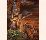 This piece, by tiki artist Tom Thordarson, focuses on the light sources of candles and general mood.