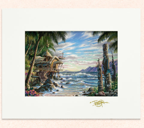 Matted print of Cove Of Wonders with gold leaf Thor signature.