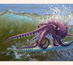 Fantasy artist Tom Thordarson paints a tubular octopus surfing and catching waves, showing not all surfers are created equal, surf along side him!