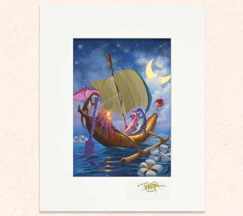 Matted print of Crescent Courtship with gold leaf Thor signature