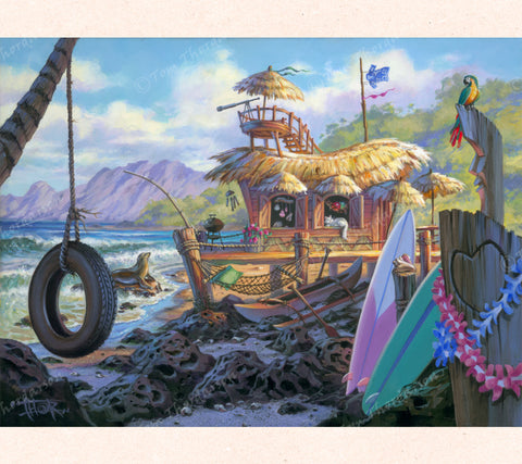 Tom Thordarson's original artwork Hale Kaunu shows an idylic beach home, complete with an observation tower, surfboards, hammock and tire swing.