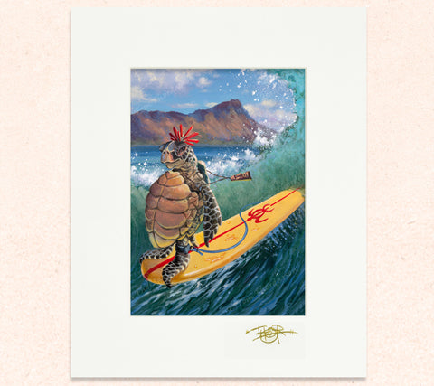 Matted print of Hang Two Honu with gold leaf Thor signature