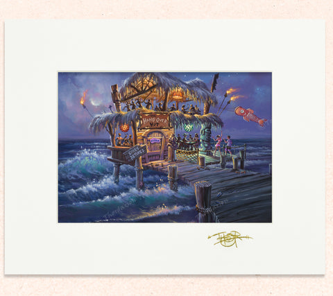 Matted print of The Hangover Hut with gold leaf Thor signature