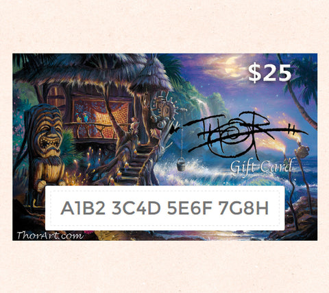 $25 Gift Card featuring Tom Thordarson's fantasy artwork Harmony of the Elements
