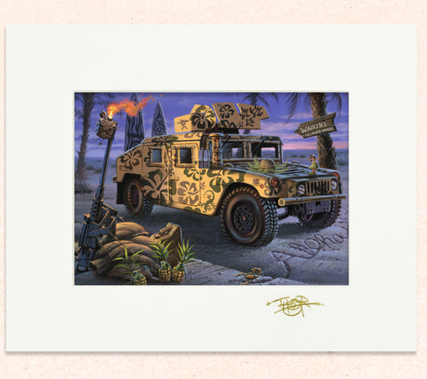 Matted print of Da Humma Hummer with gold leaf Thor signature