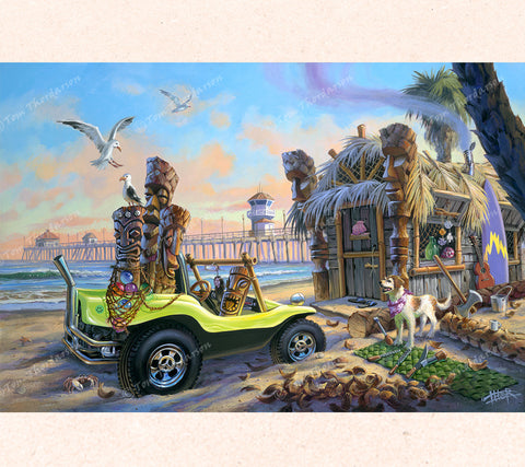 Fantasy Artist Thor paints a California beach landscape with a dune buggy loaded with tikis to sell.